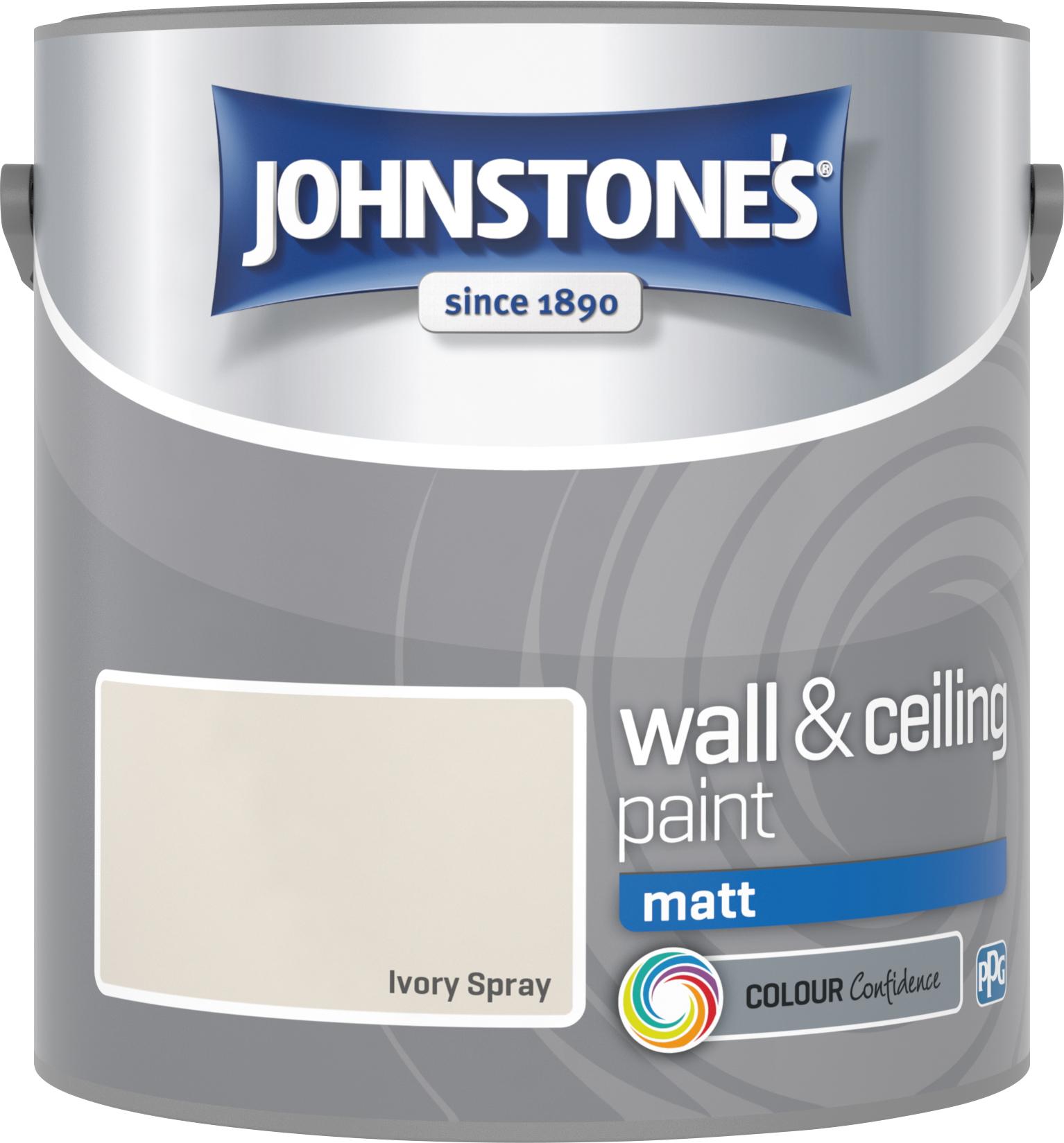 Johnstone's 304022 2.5 Litre Matt Emulsion Paint - Ivory Spray