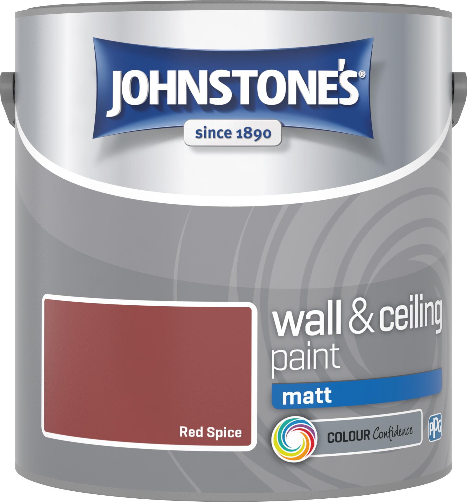 Johnstone's 304029 2.5 Litre Matt Emulsion Paint - Red Spice