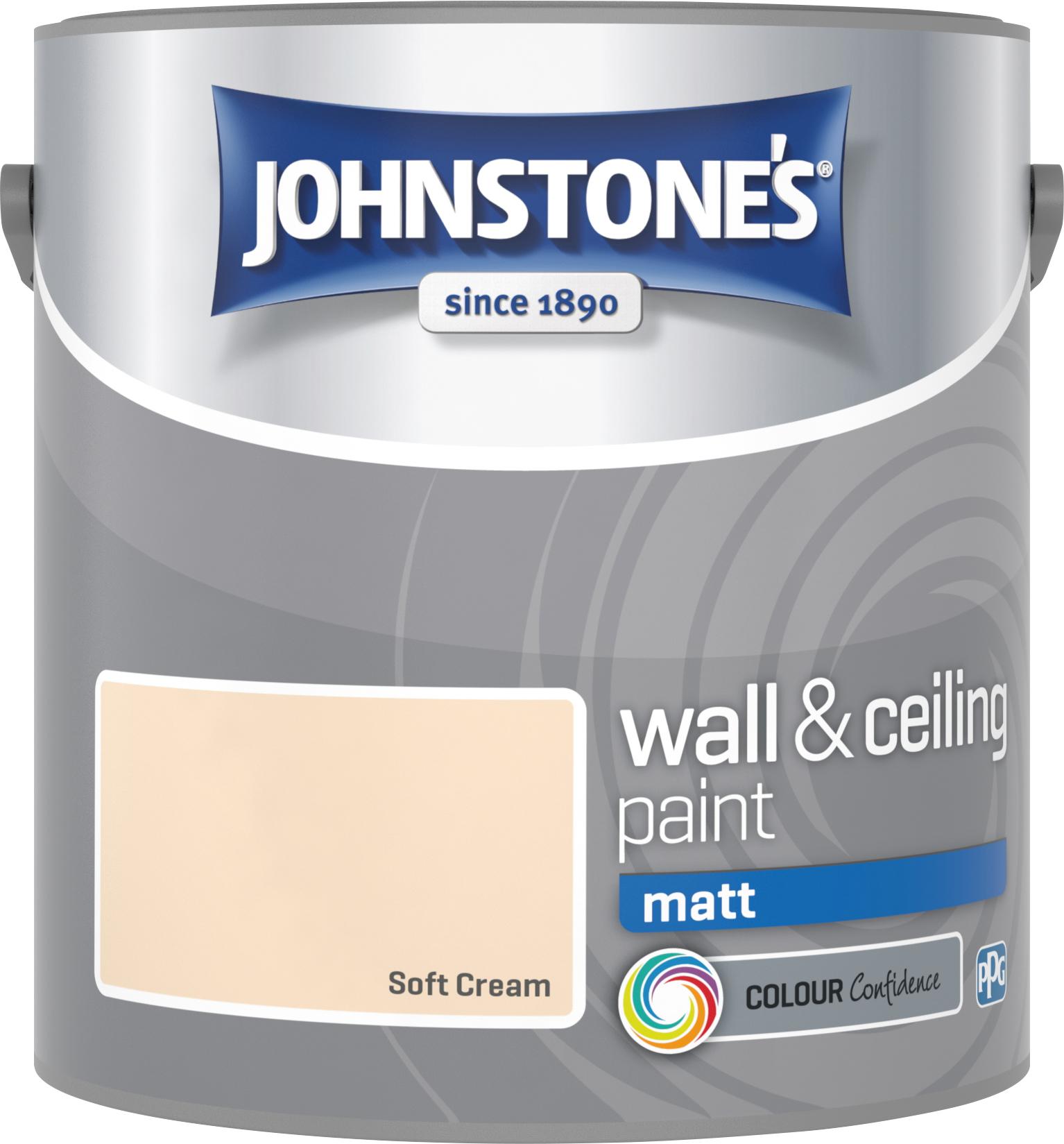 Johnstone's 304032 2.5 Litre Matt Emulsion Paint - Soft Cream