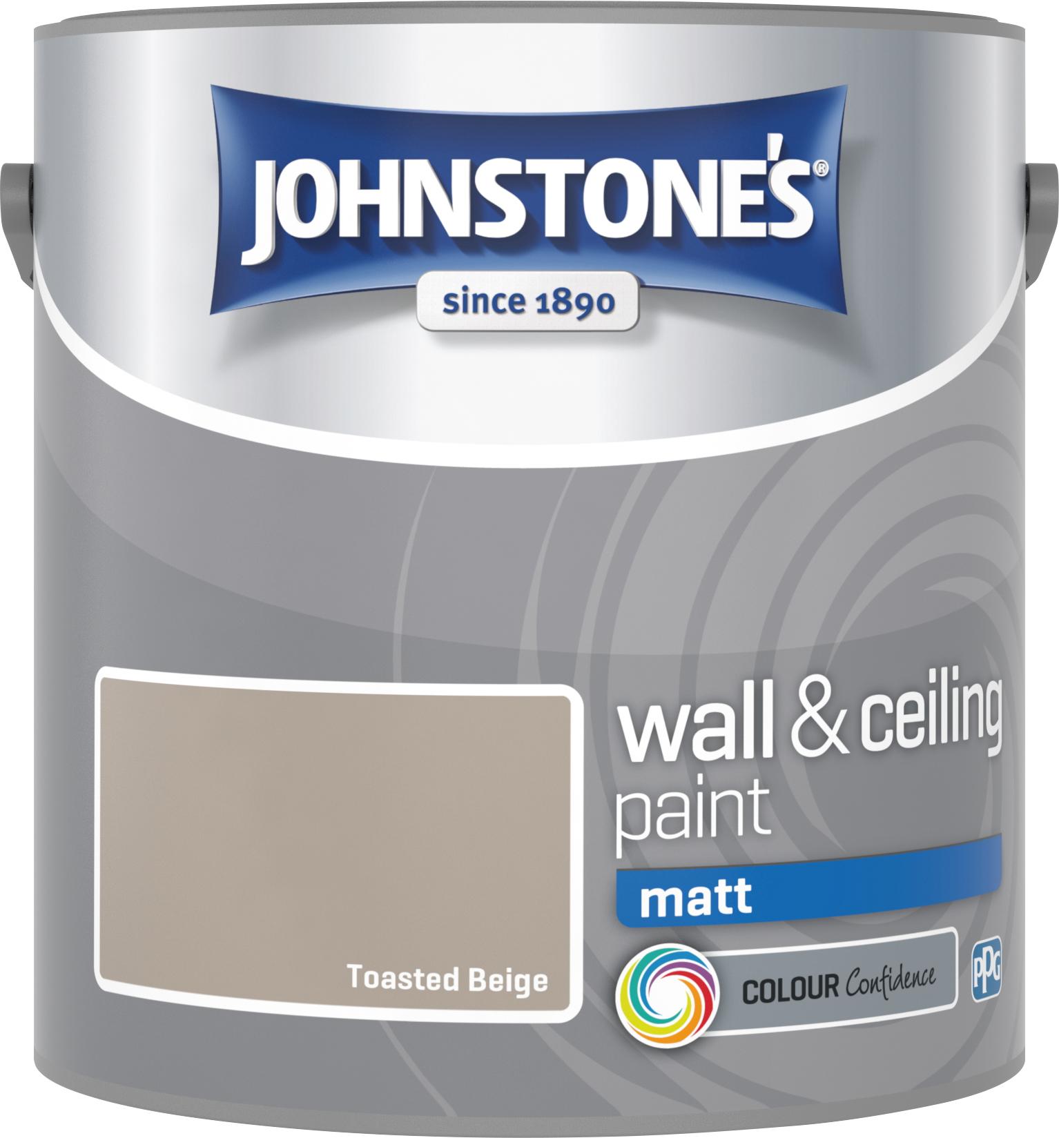 Johnstone's 304041 2.5 Litre Matt Emulsion Paint - Toasted Beige