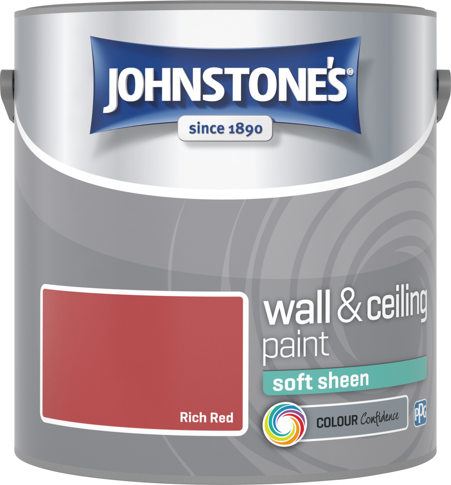 Johnstone's 304156 2.5 Litre Soft Sheen Emulsion Paint - Rich Red