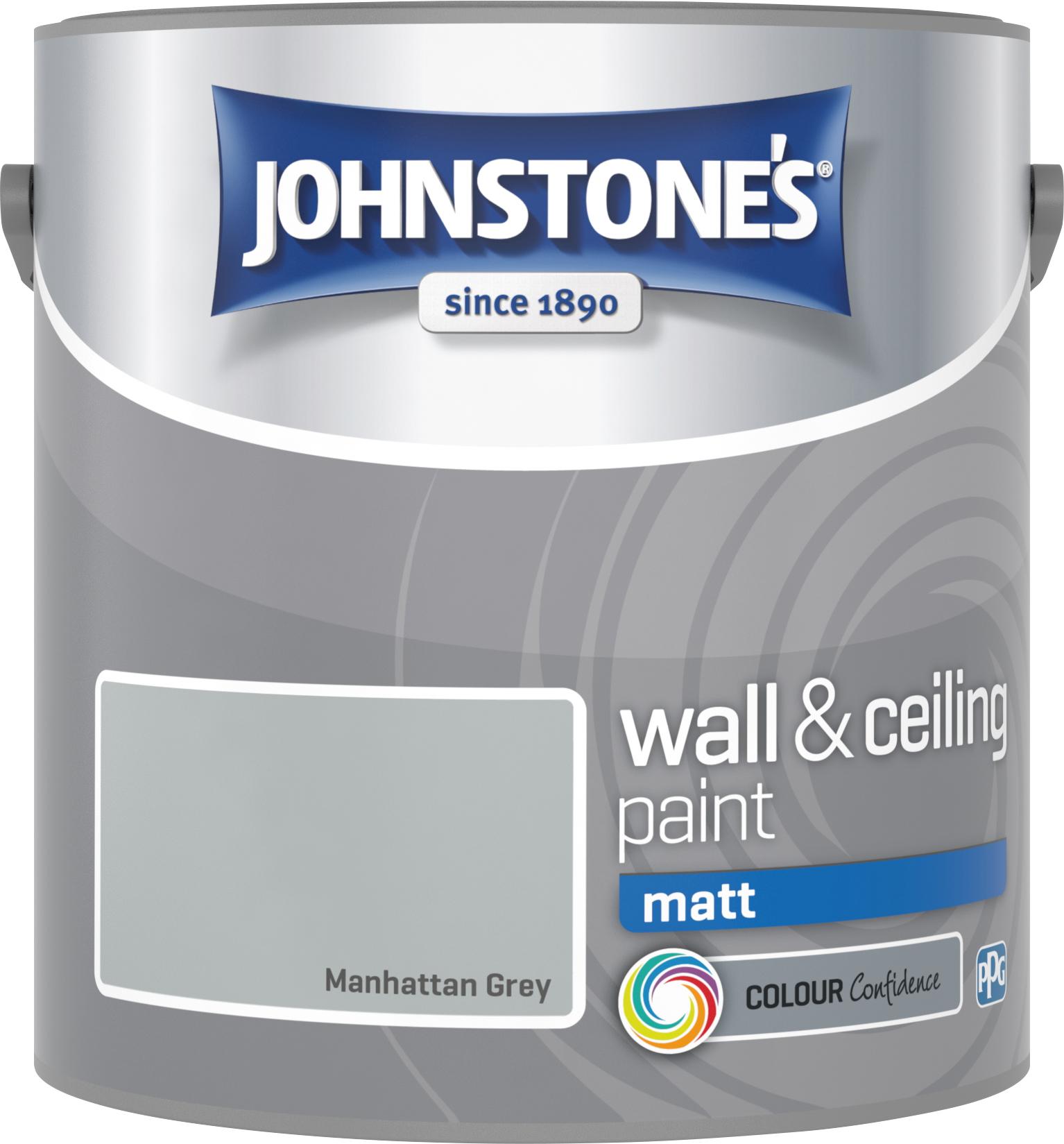 Johnstone's 307091 2.5 Litre Matt Emulsion Paint - Manhattan Grey