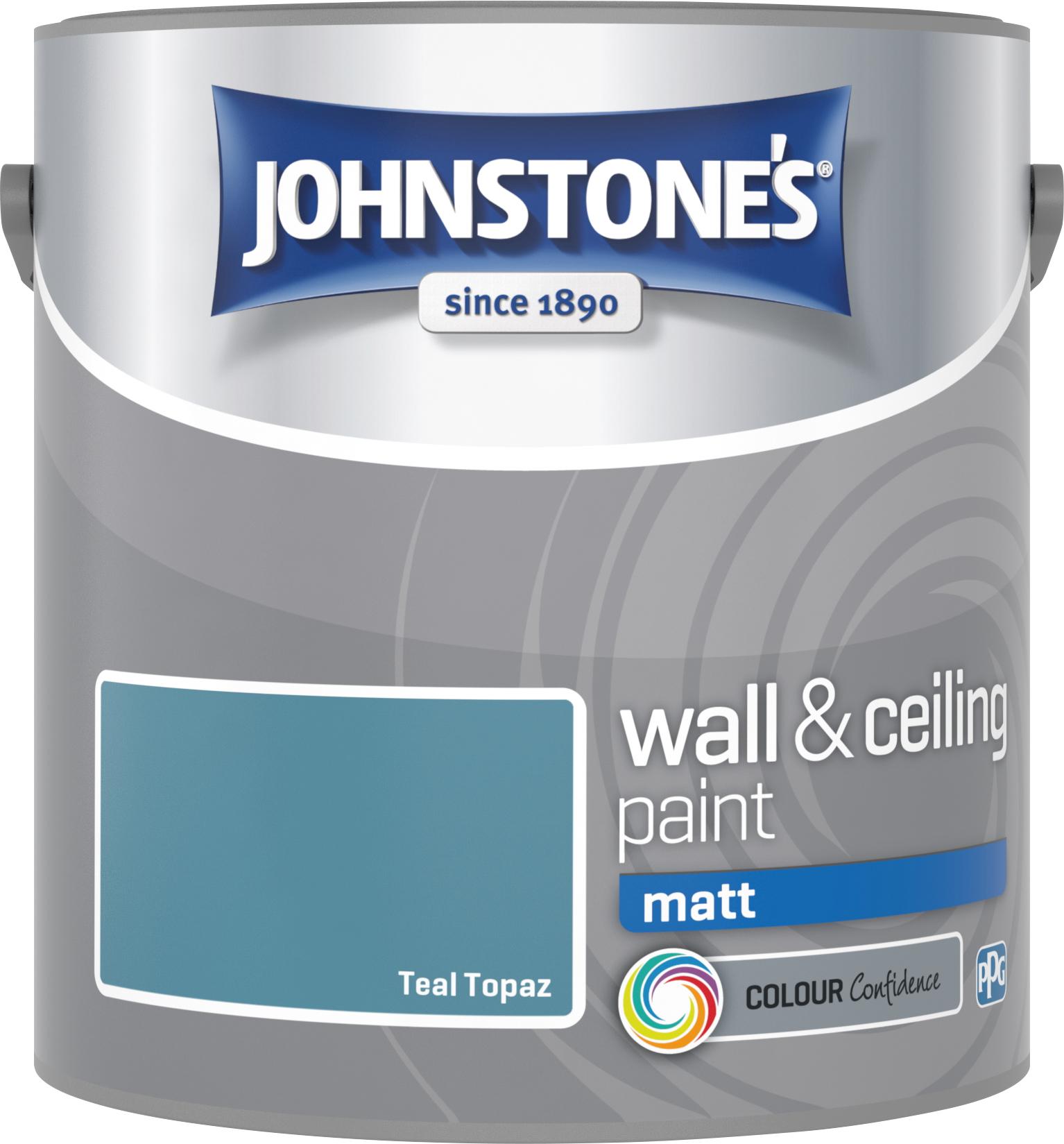 Johnstone's 307095 2.5 Litre Matt Emulsion Paint - Teal Topaz