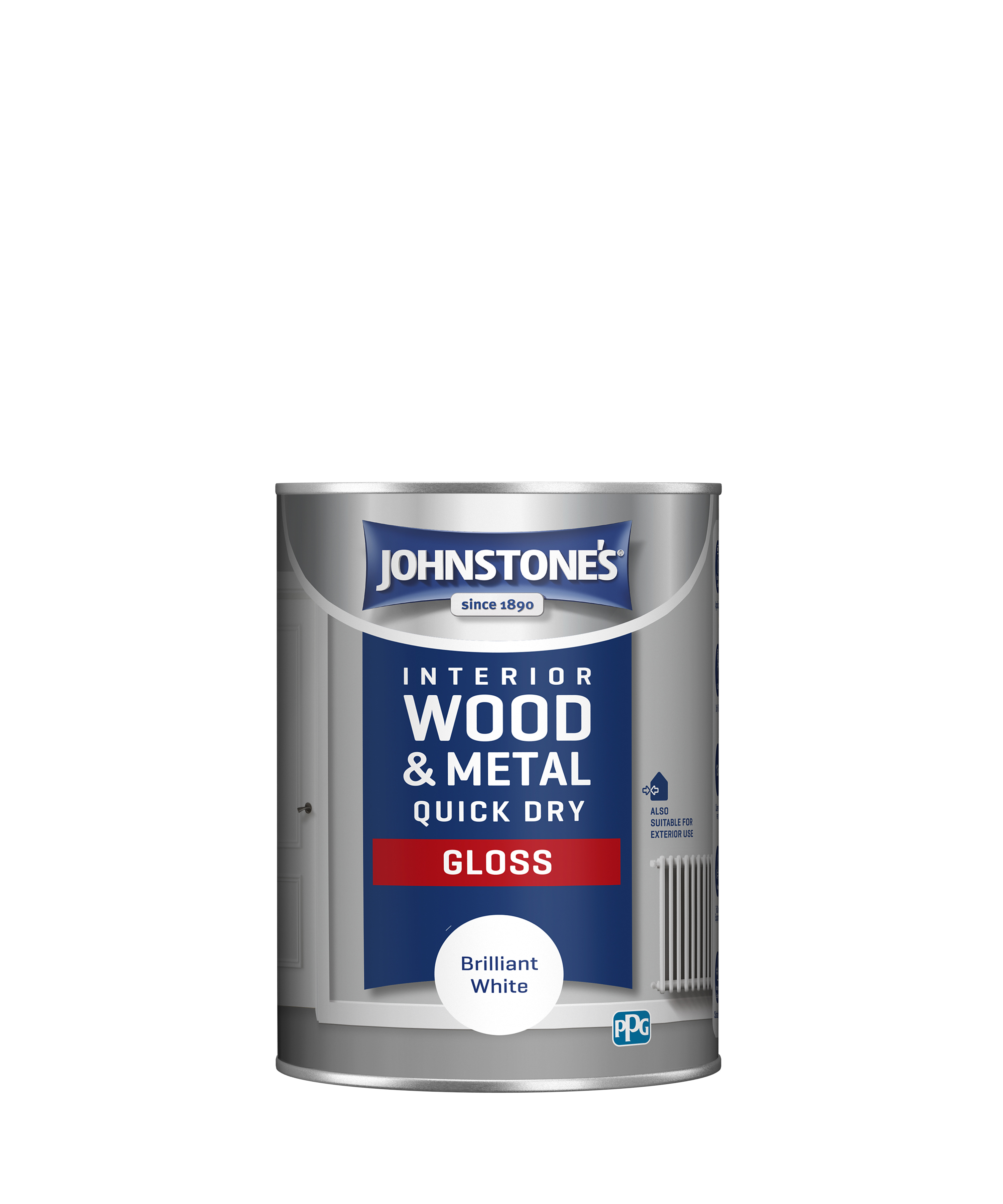Johnstones 1.25 Litre Quick Dry Gloss Paint - Brilliant White