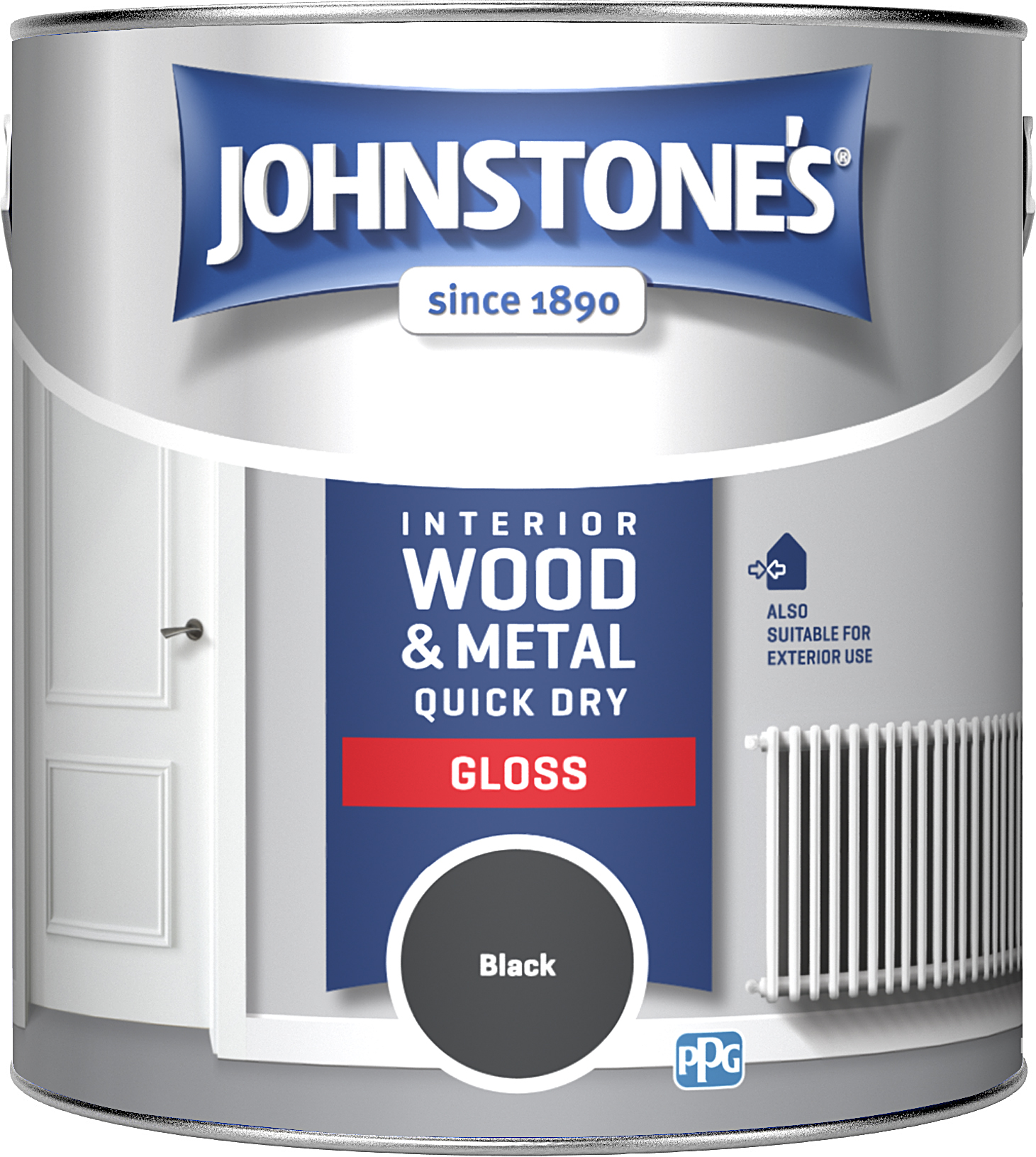 Johnstones 2.5 Litre Quick Dry Gloss Paint - Black