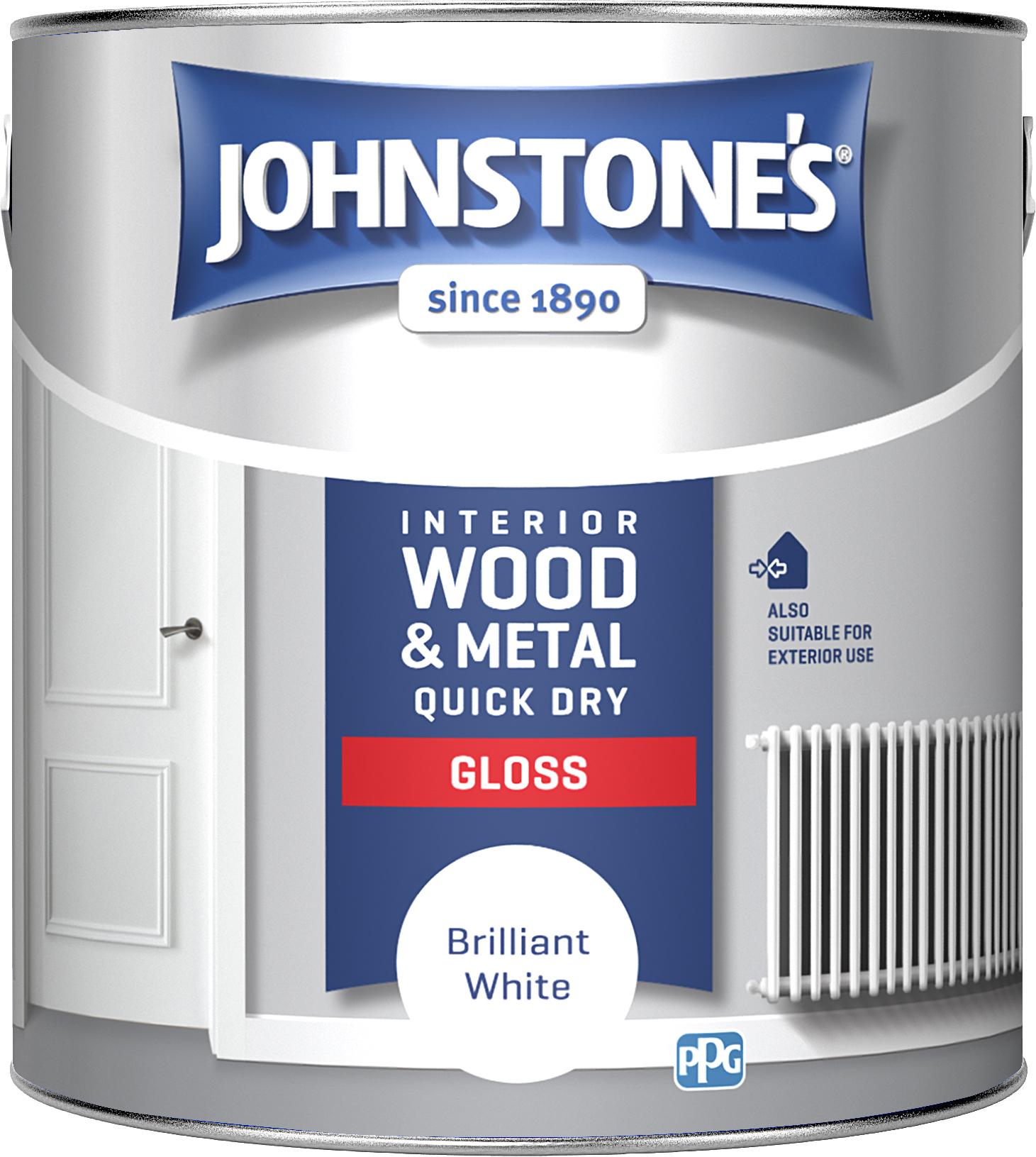 Johnstones 2.5 Litre Quick Dry Gloss Paint - Brilliant White