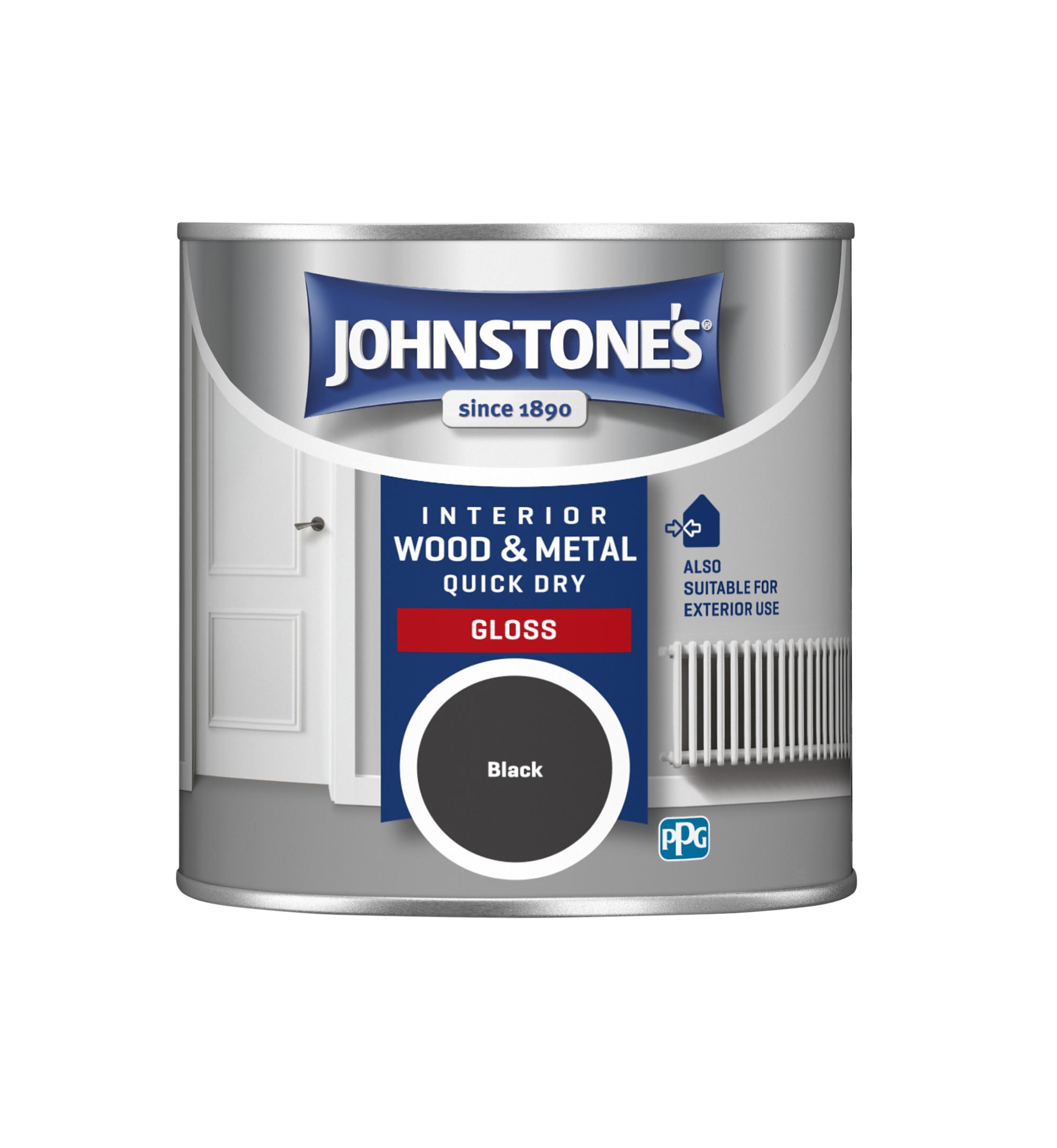 Johnstones 250ml Quick Dry Gloss Paint - Black