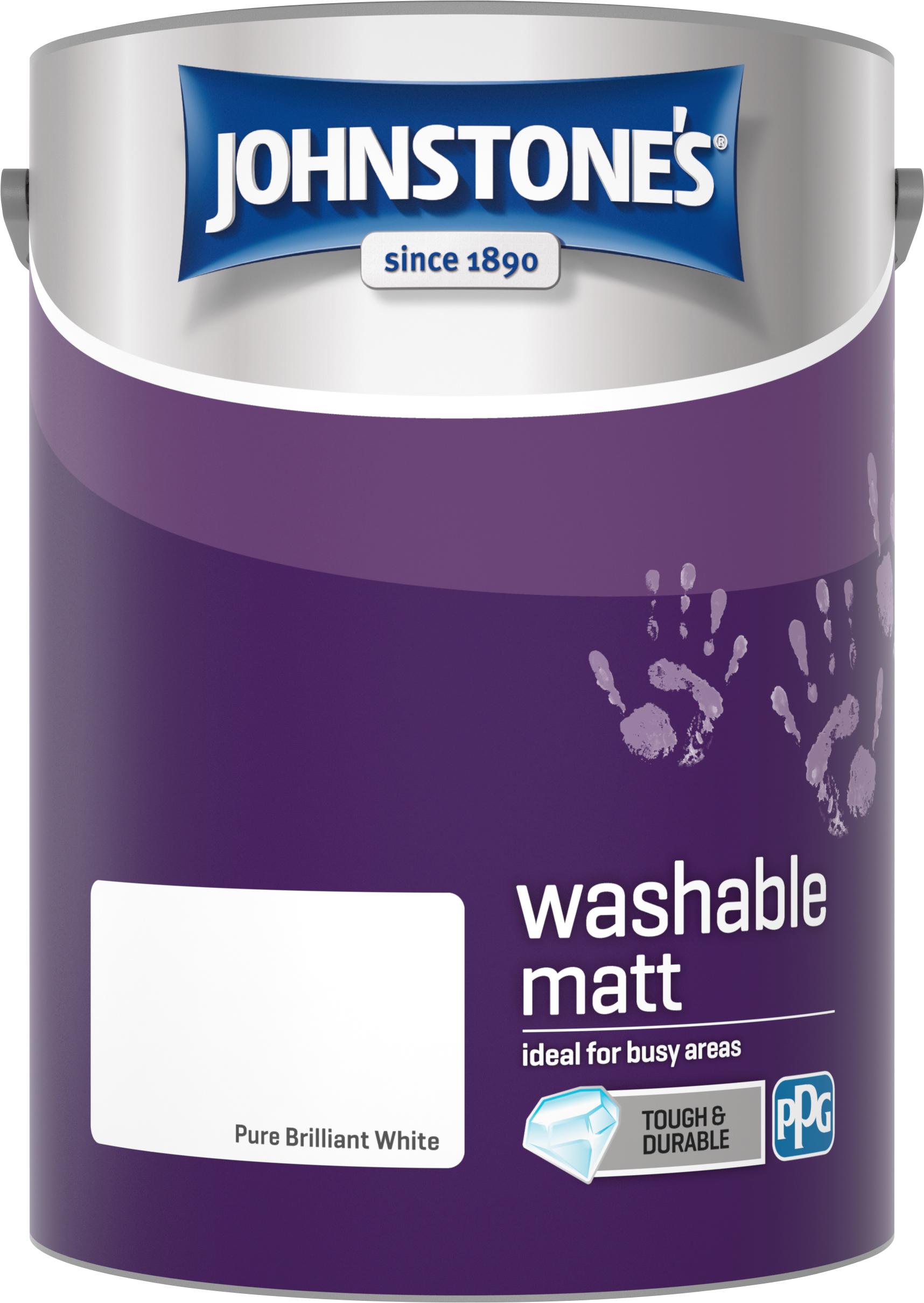 Johnstone's 5 Litre Washable Matt Emulsion Paint - Pure Brilliant White