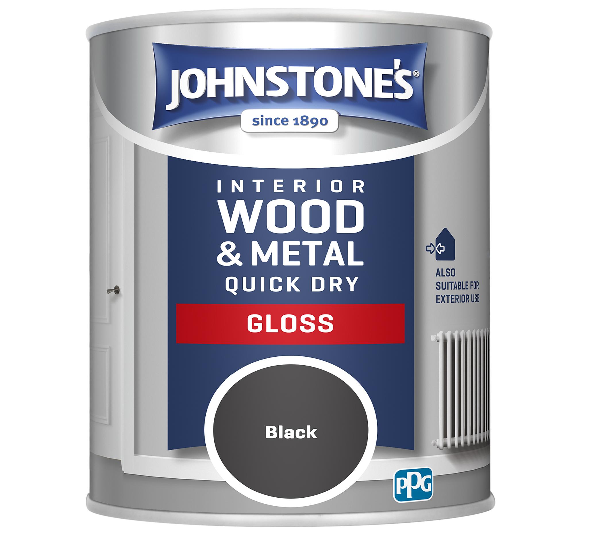 Johnstones 750ml Quick Dry Gloss Paint - Black