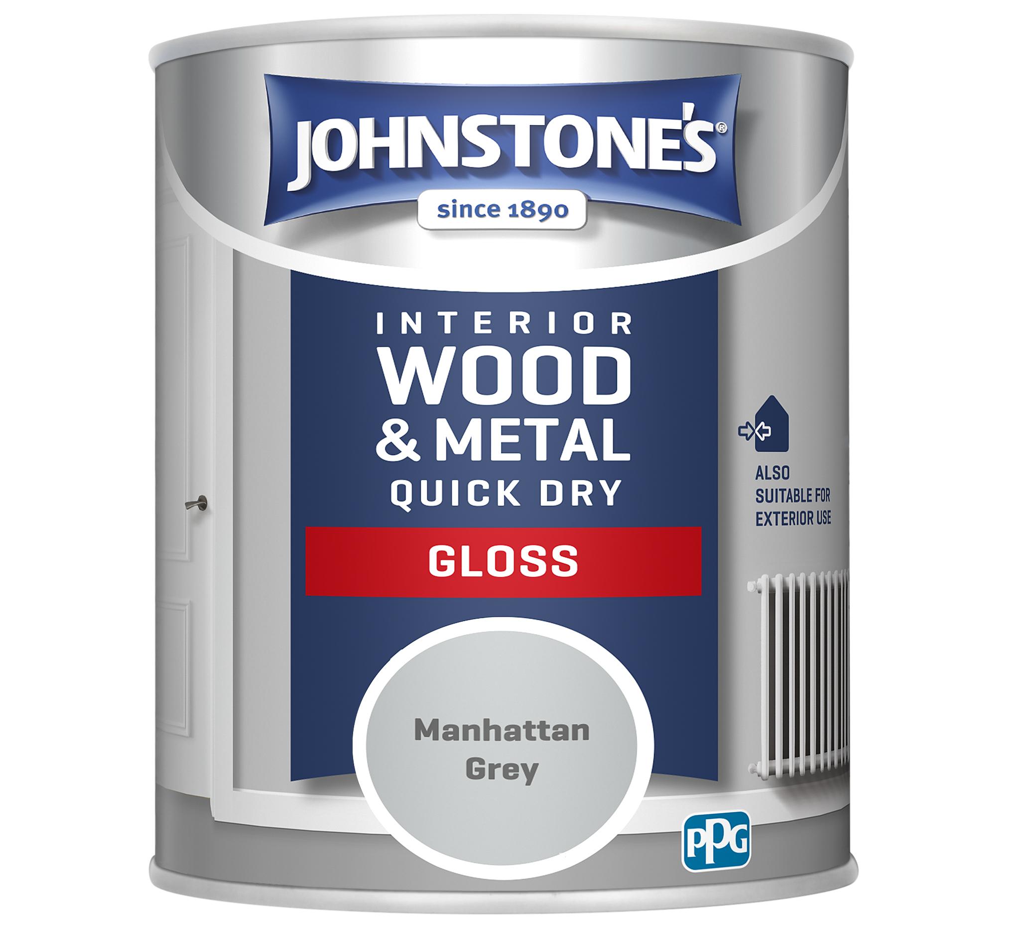 Johnstones 750ml Quick Dry Gloss Paint - Manhattan Grey