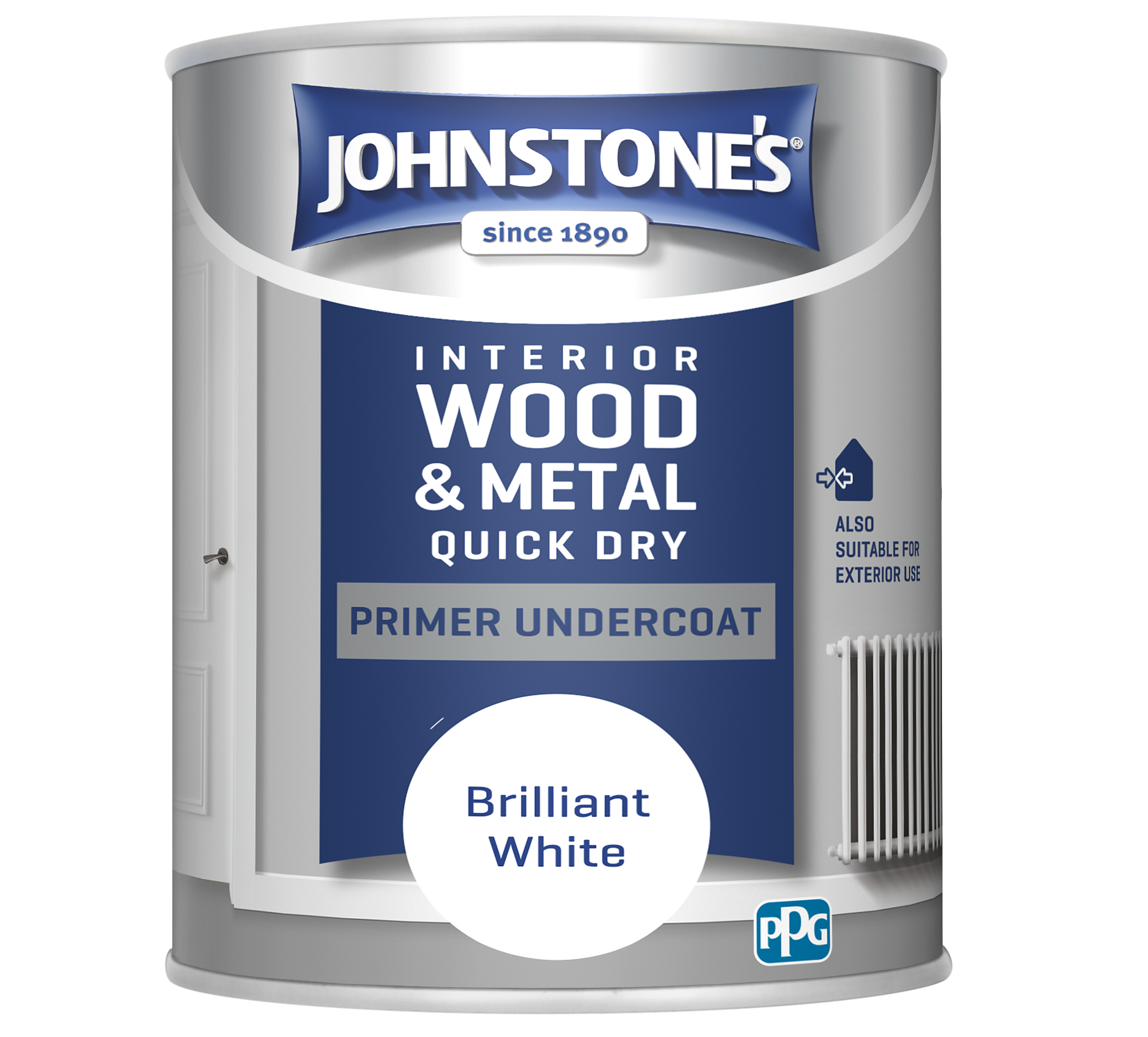 Johnstones 750ml Quick Dry Primer Undercoat - Brilliant White