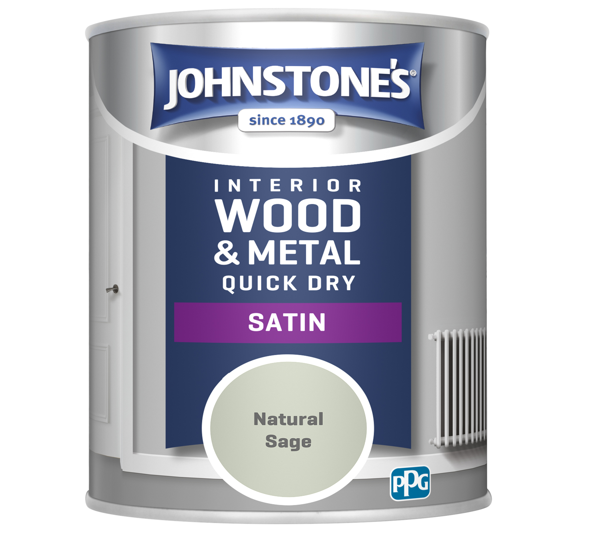 Johnstones 750ml Quick Dry Satin Paint - Natural Sage