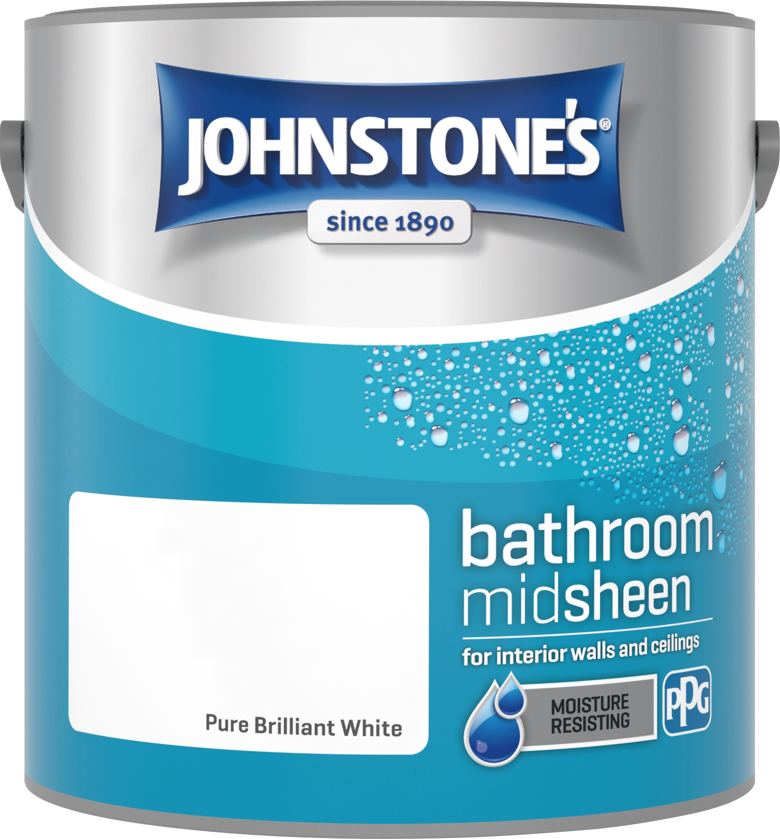 Johnstone's 2.5 Litre Bathroom Paint - Pure Brilliant White