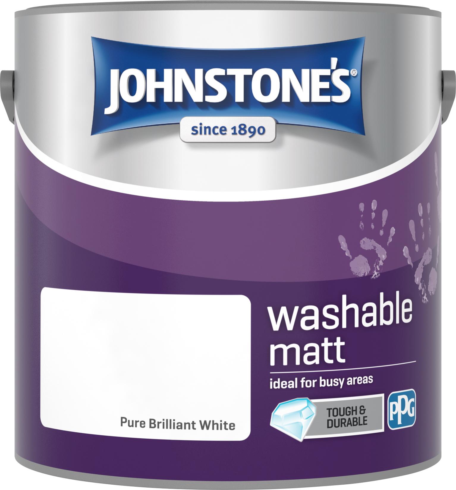 Johnstone's 2.5 Litre Washable Matt Emulsion Paint - Pure Brilliant White