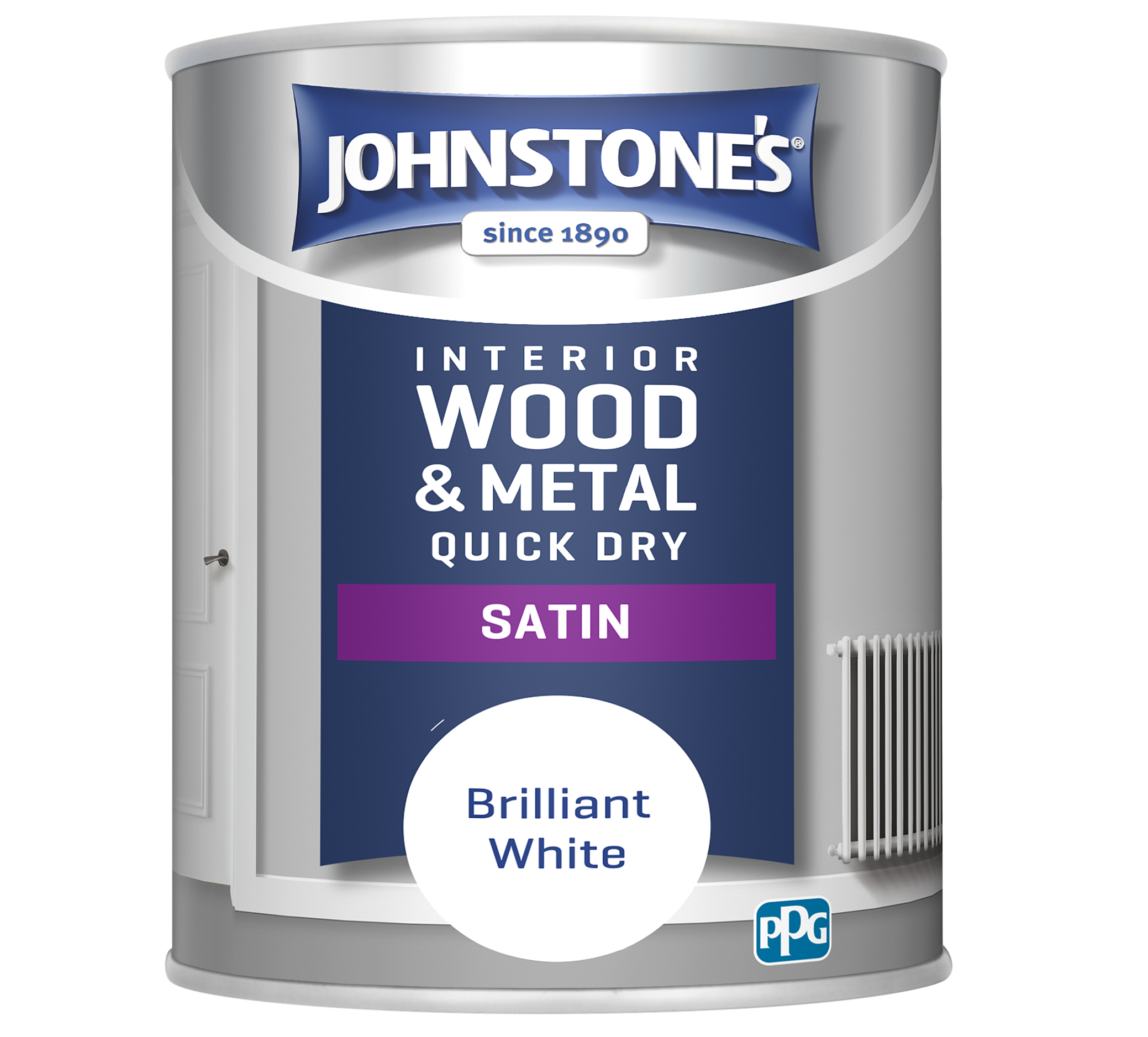 Johnstone's 303912 750ml One Coat Quick Dry Satin Paint - Brilliant White