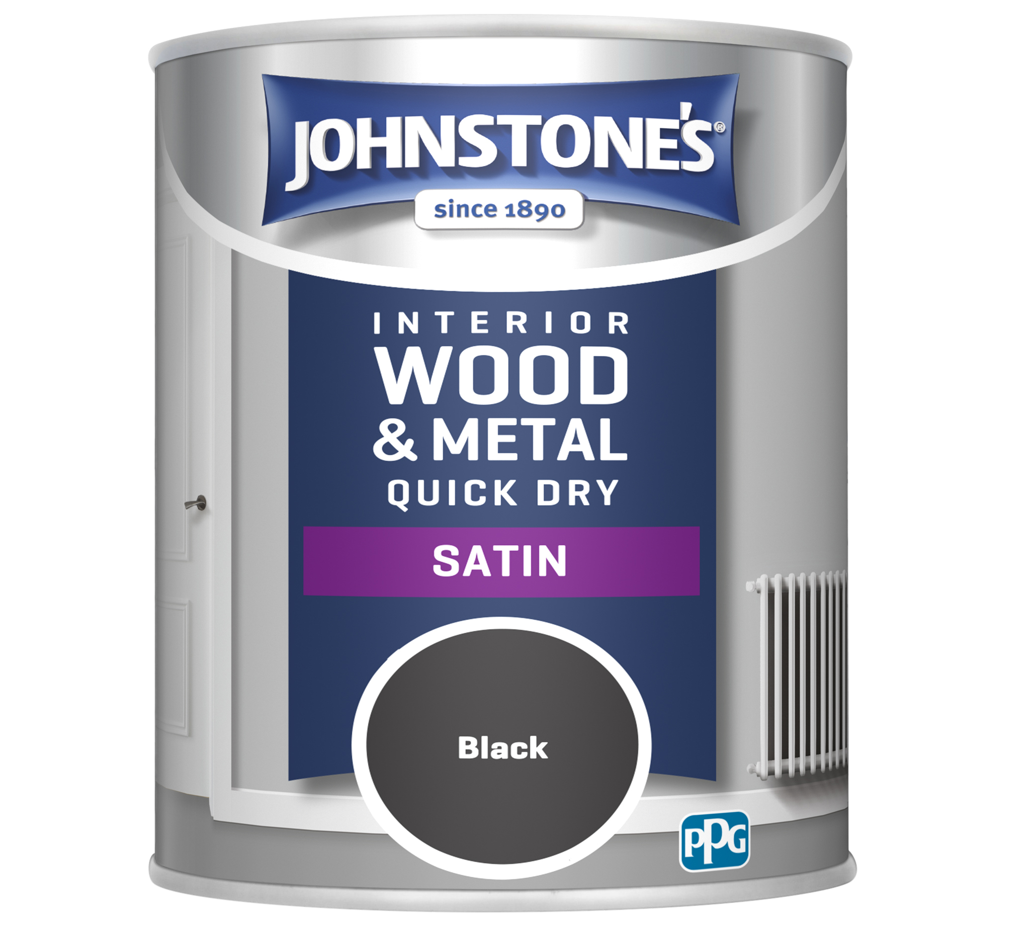 Johnstone's 303913 750ml One Coat Quick Dry Satin Paint - Black