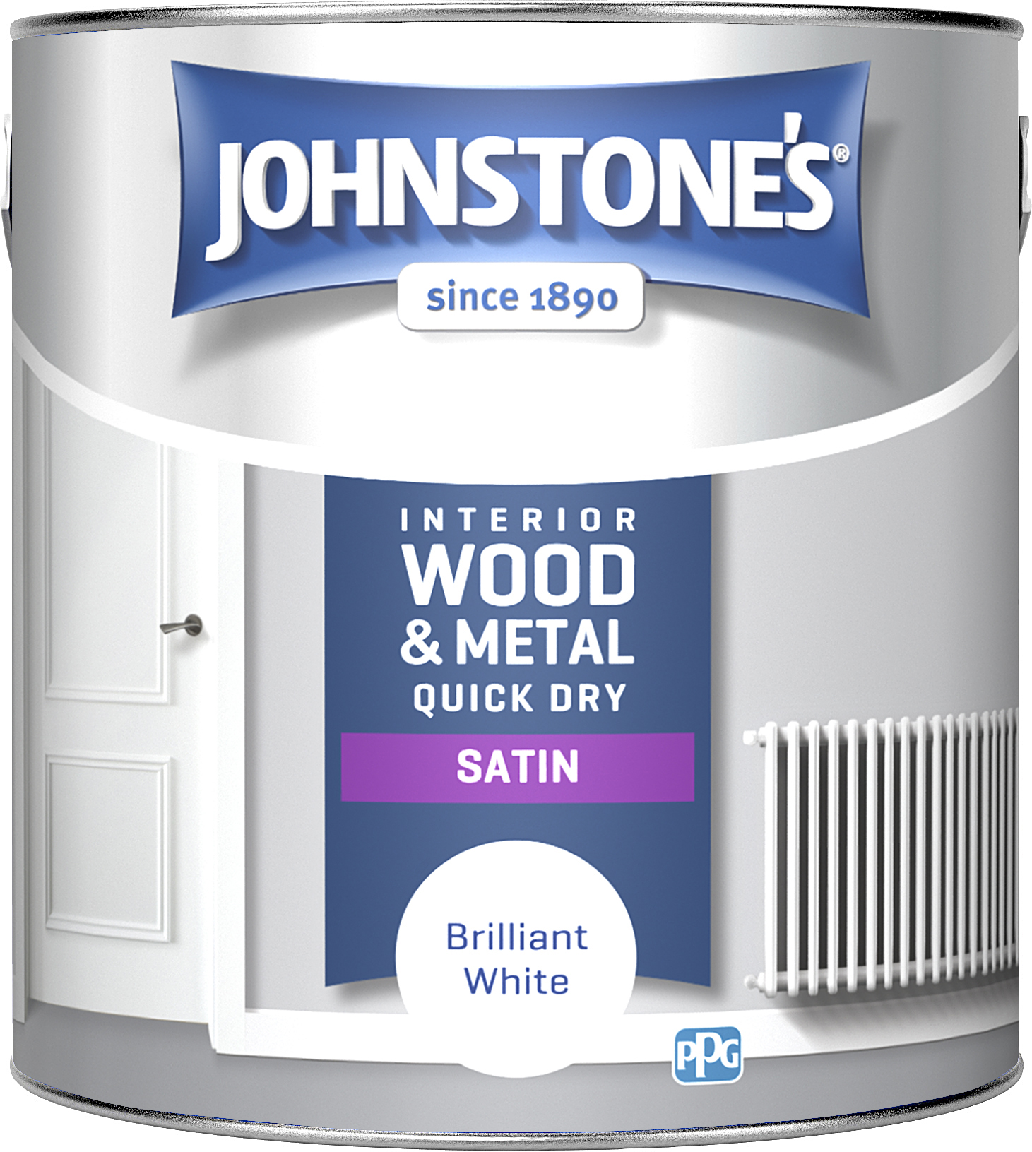 Johnstone's 303930 2.5 Litre One Coat Quick Dry Satin Paint - Brilliant White