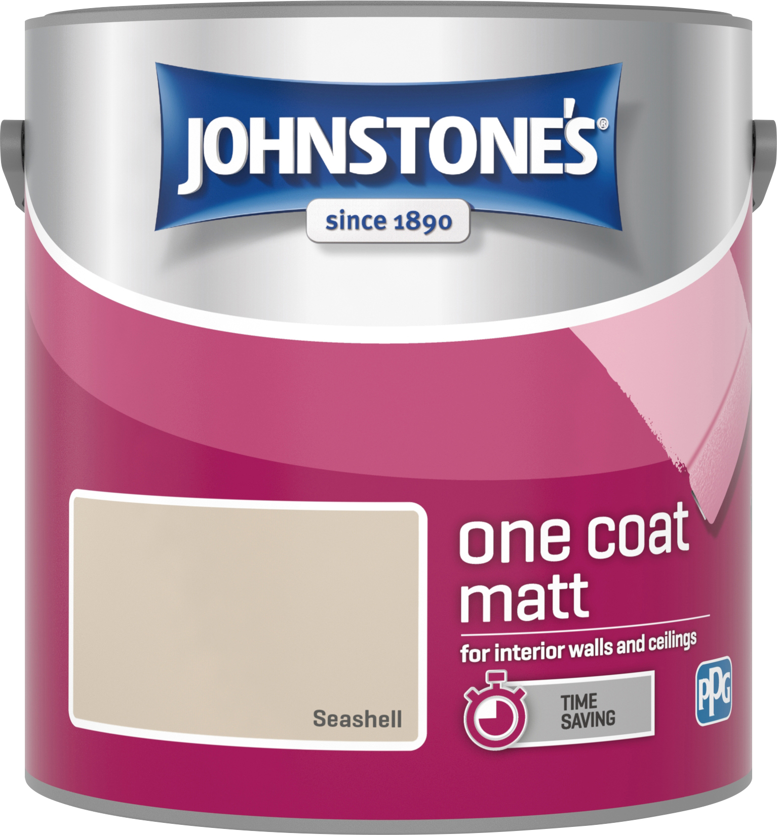 Johnstone's 304119 2.5 Litre One Coat Matt Emulsion Paint - Seashell