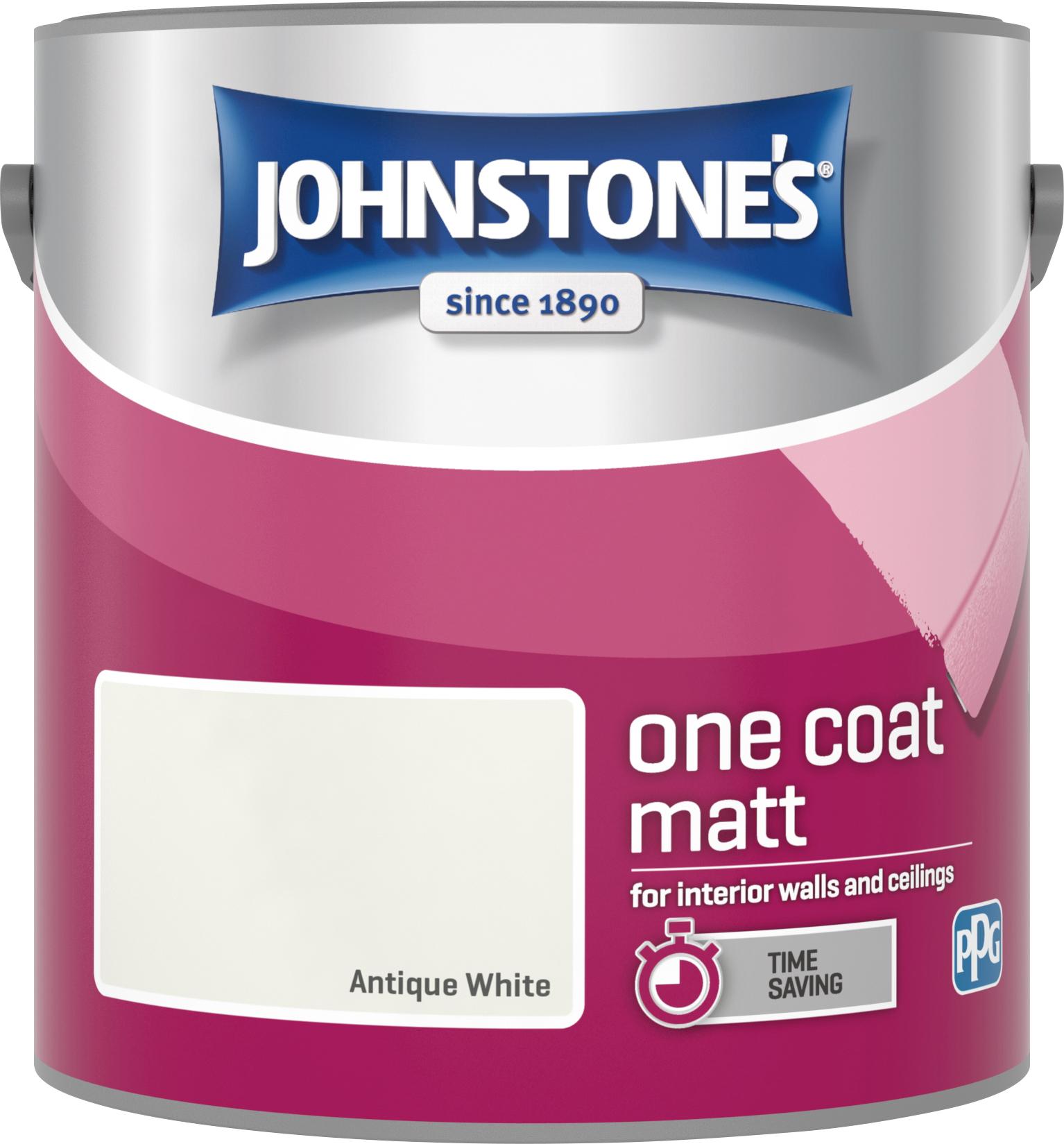 Johnstone's 304127 2.5 Litre One Coat Matt Emulsion Paint - Antique White