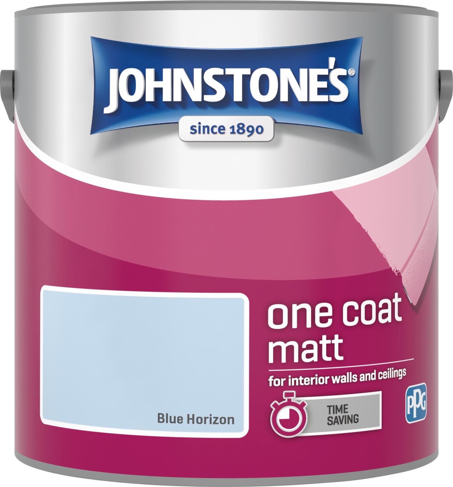 Johnstone's 304128 2.5 Litre One Coat Matt Emulsion Paint - Blue Horizon