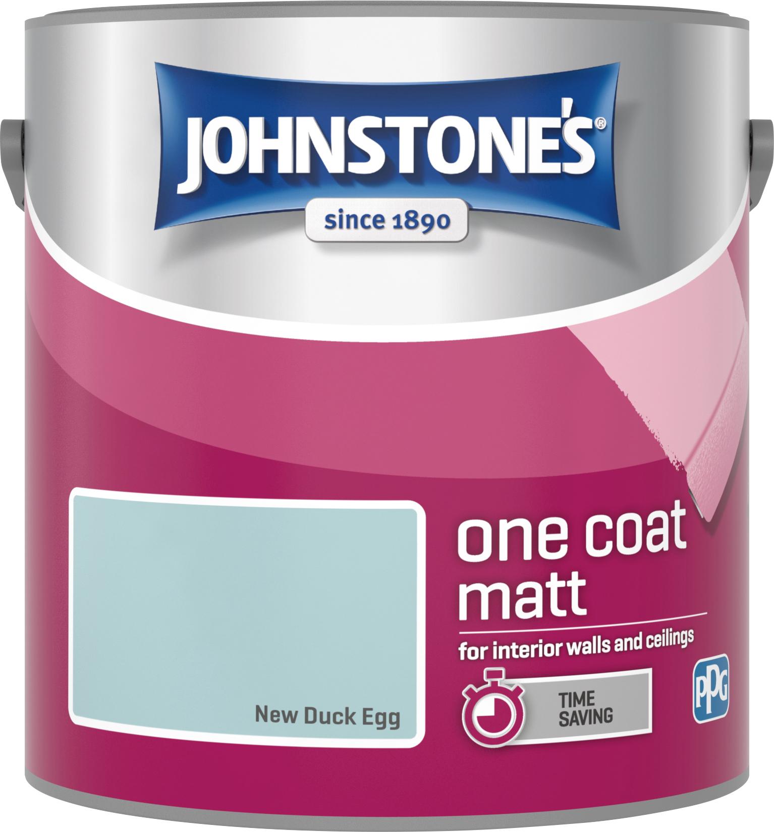 Johnstone's 308450 2.5 Litre One Coat Matt Emulsion Paint - New Duck Egg