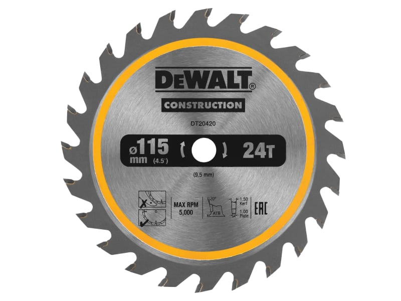 DEWALT DT20420 TCT Construction Circular Saw Blade 115 x 9.5mm x 24T