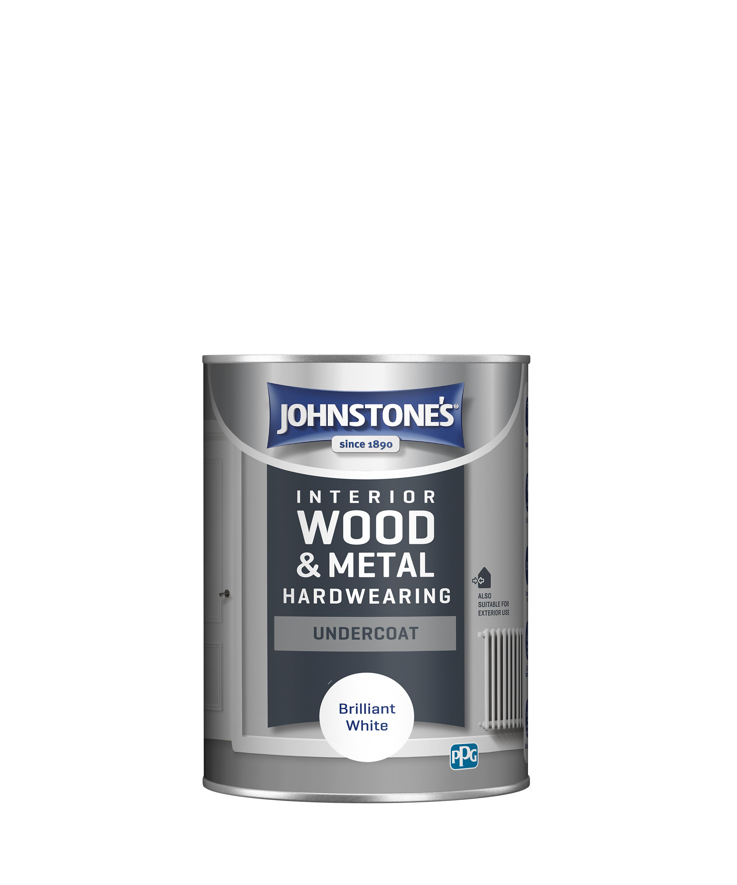 Johnstone's 303903 1.25 Litre All Purpose Undercoat Paint - Brilliant White
