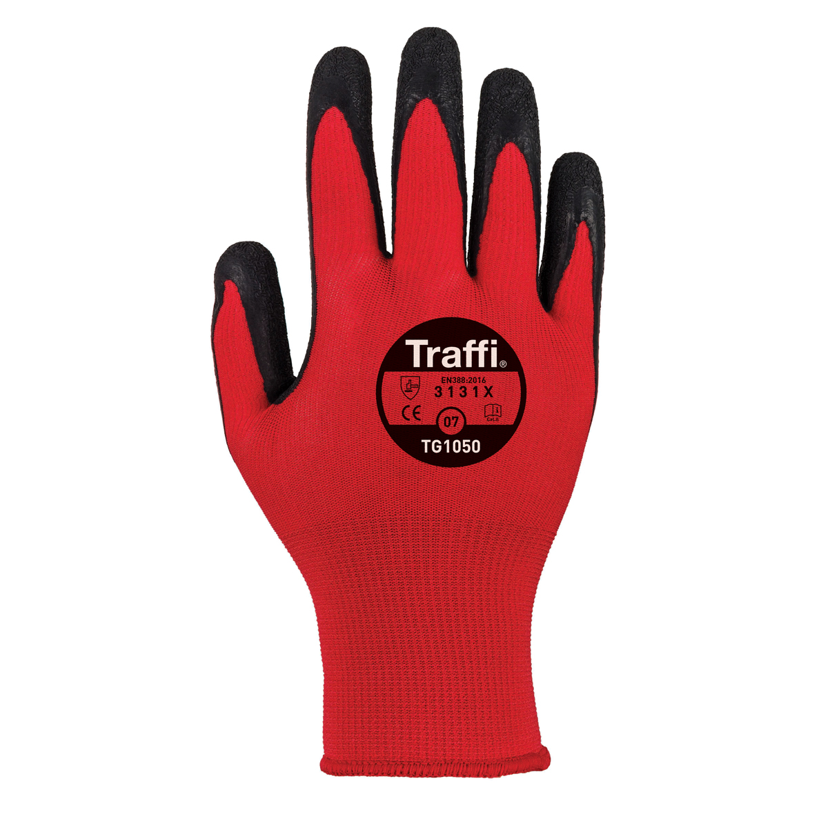 Size 7 Centric Cut 1 Red Nylon Shell X-dura Latex Palm Coating (10 Pack)