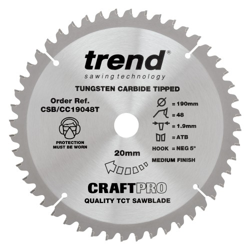 Trend Craft Pro saw blade - 190mm diameter 20mm bore 48tooth TCT