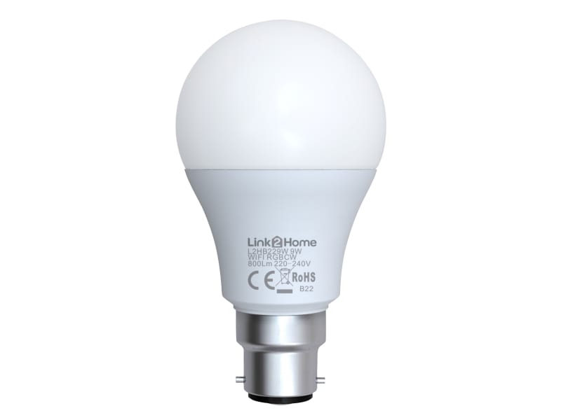 Link2home Wi-fi Led Bc (b22) Opal Gls Dimmable Bulb, White + Rgb 800 Lm 9w