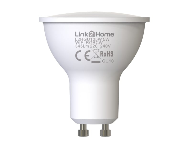 Link2Home Wi-Fi LED GU10 Dimmable Bulb, White + RGB 345 lm 5W
