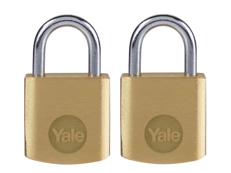 Yale Locks Brass Padlock 20mm (Pack 2)
