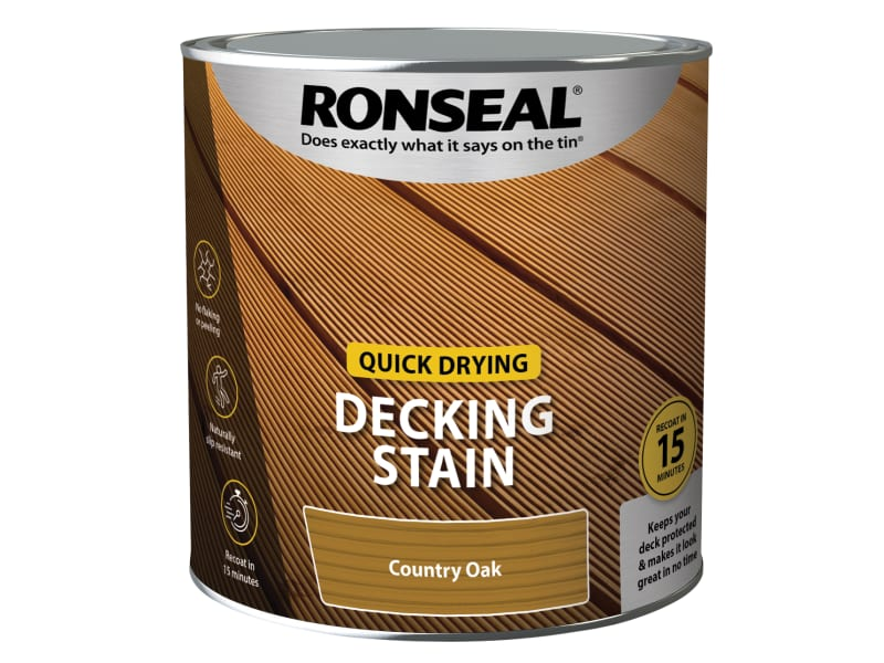 Ronseal Quick Drying Decking Stain Country Oak 2.5 litre