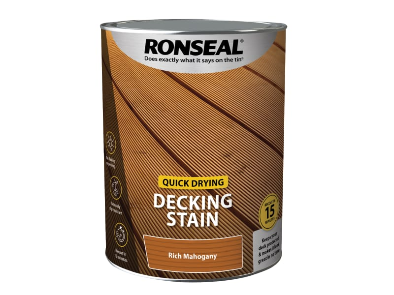 Ronseal Quick Drying Decking Stain Rich Mahogany 5 litre