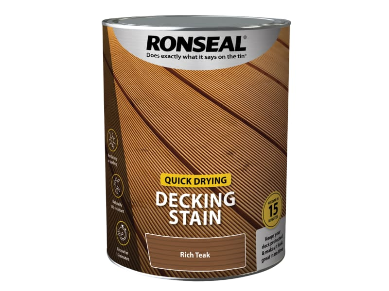 Ronseal Quick Drying Decking Stain Rich Teak 5 litre