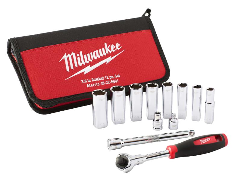Milwaukee Tradesman 3/8in Ratchet Set 12 Piece