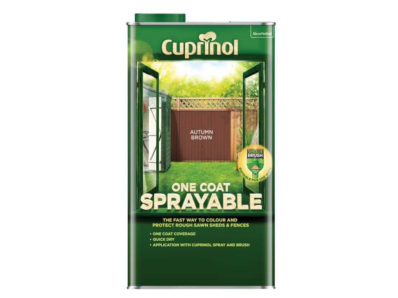 Cuprinol One Coat Sprayable Fence Treatment Autumn Brown 5 litre