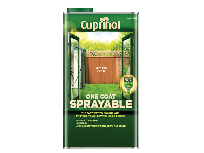 Cuprinol One Coat Sprayable Fence Treatment Autumn Gold 5 litre