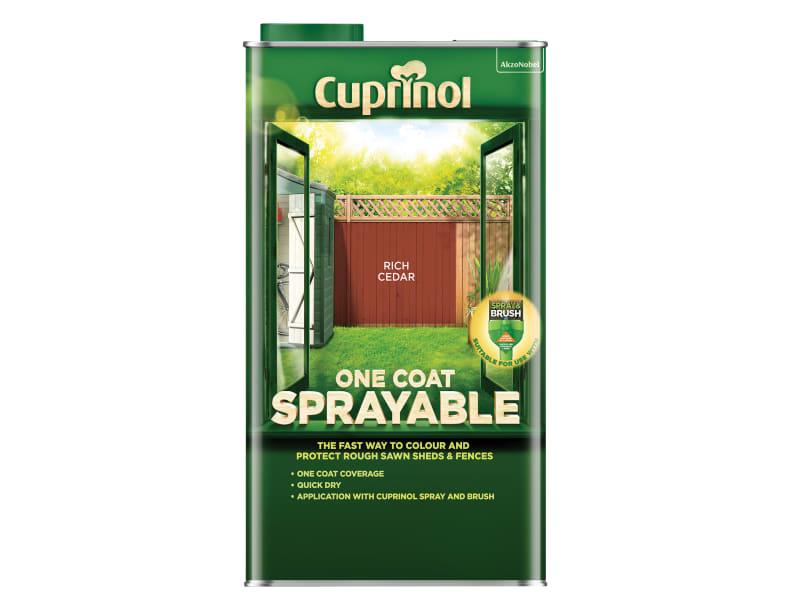 Cuprinol One Coat Sprayable Fence Treatment Rich Cedar 5 litre