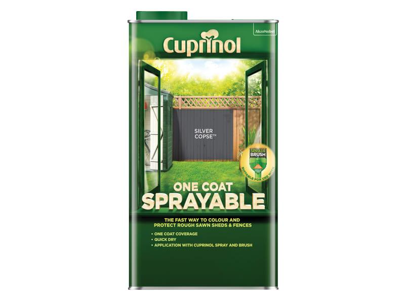Cuprinol One Coat Sprayable Fence Treatment Silver Copse 5 litre