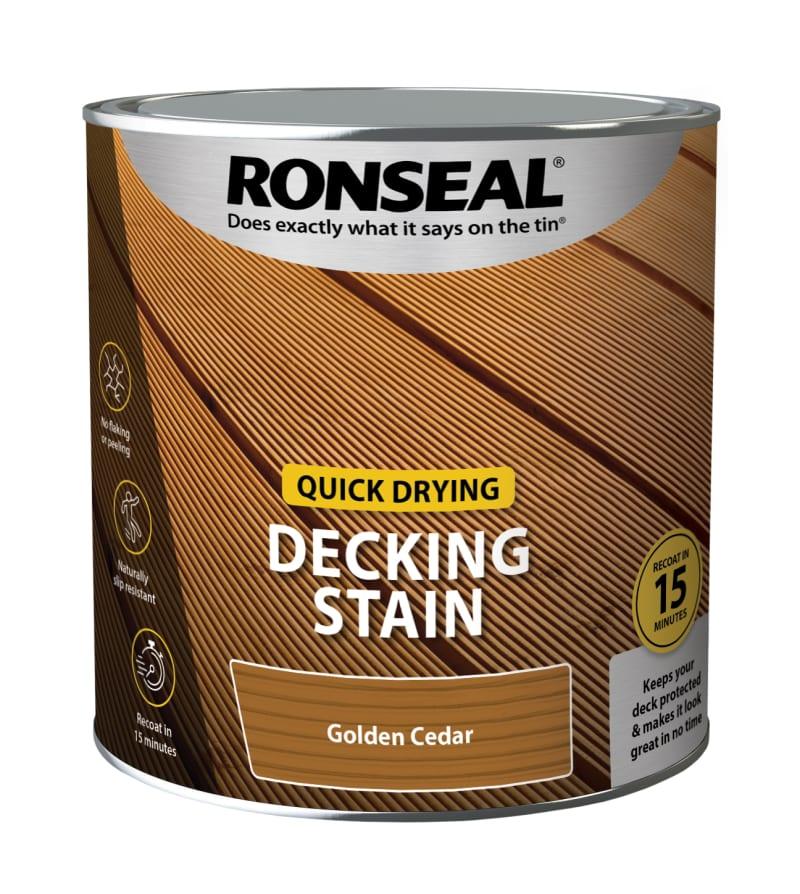 Ronseal Quick Drying Decking Stain Golden Cedar 2.5 litre
