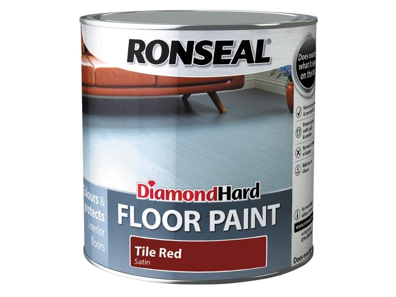 Ronseal Diamond Hard Floor Paint Satin Tile Red 2.5 litre