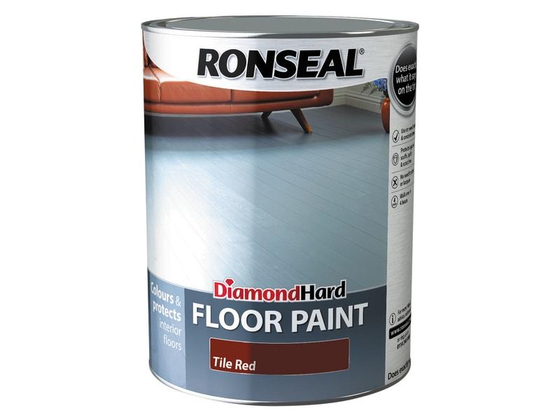 Ronseal Diamond Hard Floor Paint Satin Tile Red 5 litre