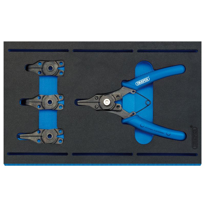 Draper Interchangeable Circlip Plier Set in 1/4 Drawer EVA Insert Tray (5 Piece)