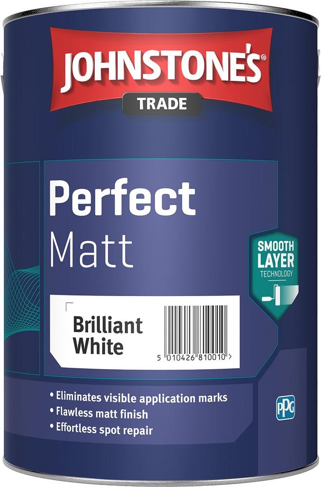 Johnstone's Trade Perfect Matt Emulsion - Pure Brilliant White - 5l