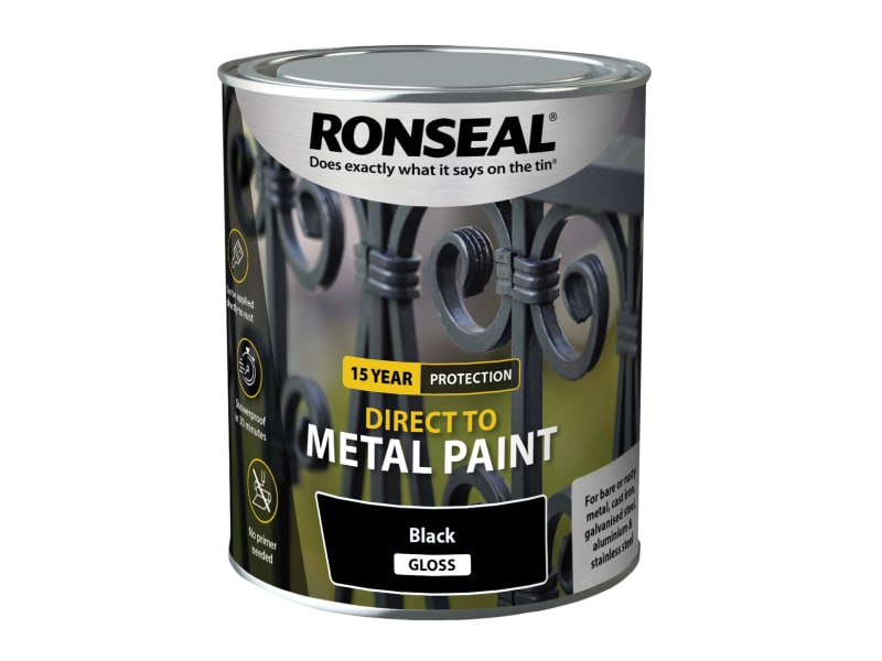 Ronseal Direct to Metal Paint - Black Gloss - 750ml