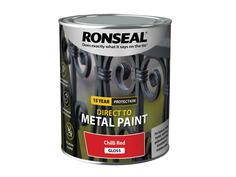 Ronseal Direct to Metal Paint - Chilli Red Gloss - 750ml