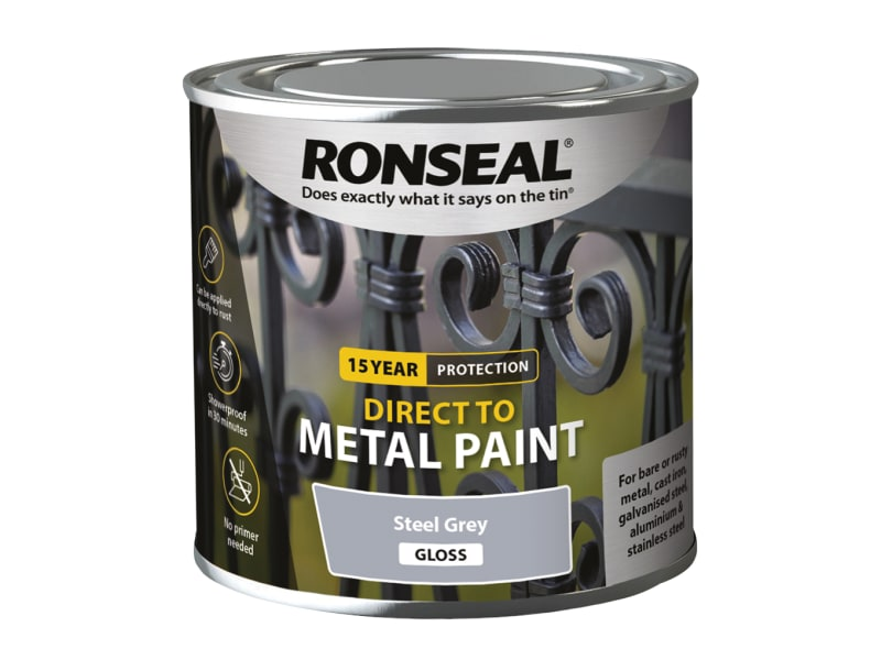 Ronseal Direct to Metal Paint - Steel Grey Gloss - 250ml