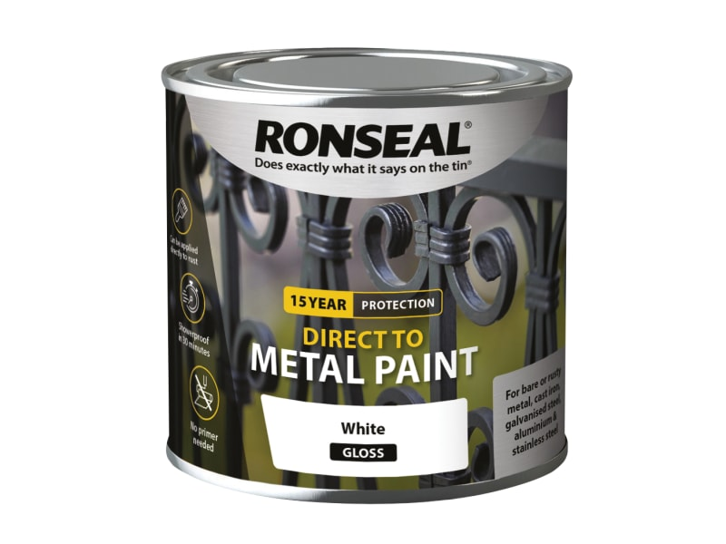 Ronseal Direct to Metal Paint - White Gloss - 250ml