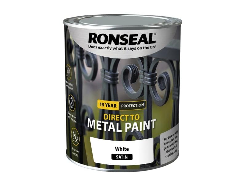 Ronseal Direct to Metal Paint - White Satin - 750ml